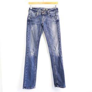 AEO jeans distressed ripped denim 0 slim vguc